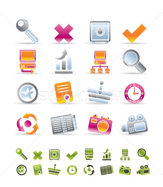 Internet website iconen vector klok Stockfoto © stoyanh