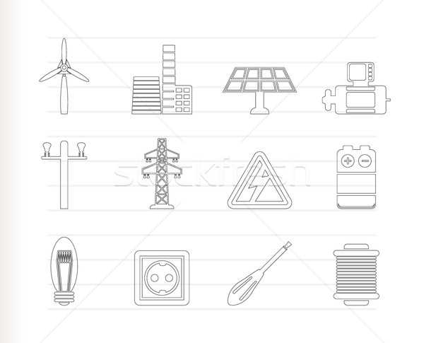 Electricity and power icons  Stock photo © stoyanh
