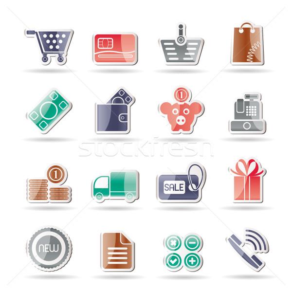 Online sklep ikona wektora komputera Zdjęcia stock © stoyanh