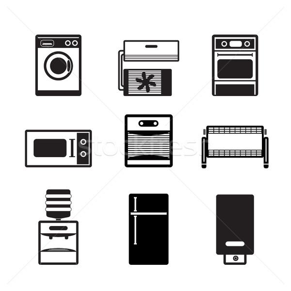 Zdjęcia stock: Domu · elektroniki · wyposażenie · ikona · wektora
