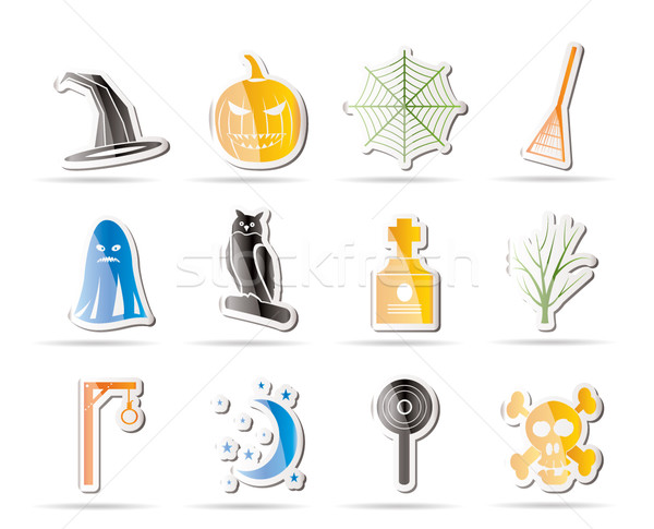 Stock photo: Simple halloween icon pack  with bat, pumpkin, witch, ghost, hat