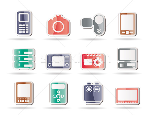 Techniques médias Electronics icônes vecteur Photo stock © stoyanh