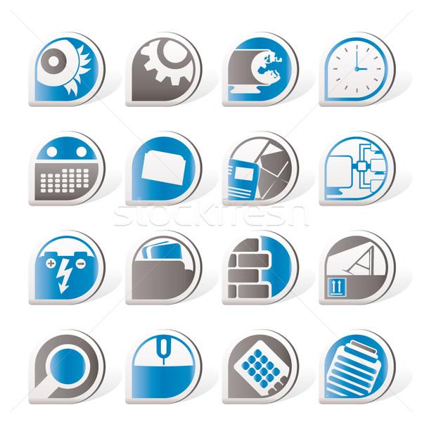 Computer mobiele telefoon internet pictogrammen vector kantoor Stockfoto © stoyanh