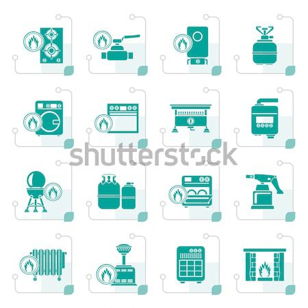 Business industrie iconen vector gebouw Stockfoto © stoyanh