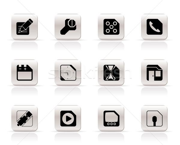 Stockfoto: Mobiele · telefoon · computer · internet · pictogrammen · vector · telefoon