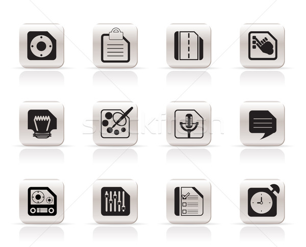 Сток-фото: мобильного · телефона · компьютер · Интернет · иконы · вектора · телефон