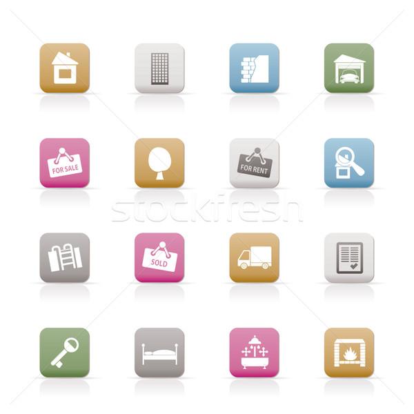 Foto stock: Imóveis · ícones · vetor · negócio · computador