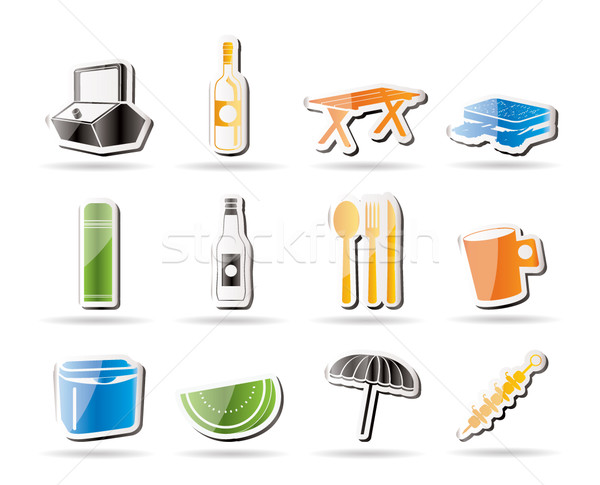 Simple Picnic and holiday icons  Stock photo © stoyanh