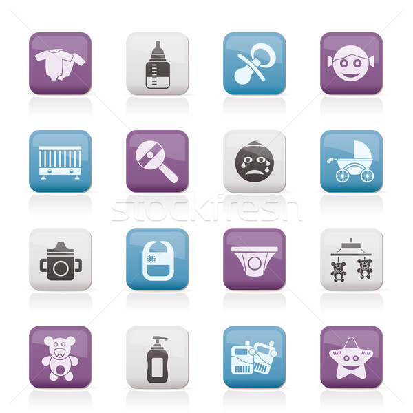 Baby, children and toys icons  Stock photo © stoyanh