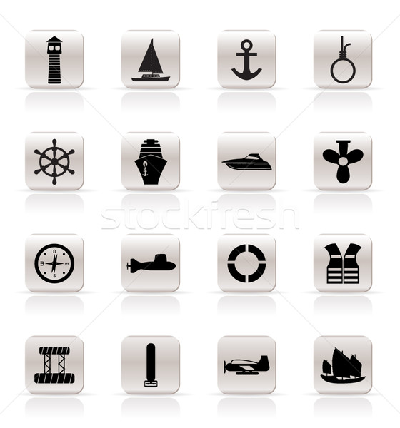 Simple Marine, Sailing and Sea Icons Stock photo © stoyanh