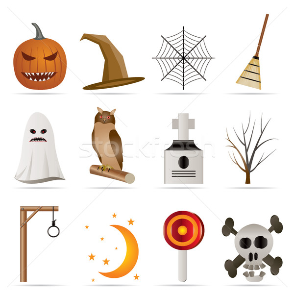 halloween icon pack  with bat, pumpkin, witch, ghost, hat Stock photo © stoyanh