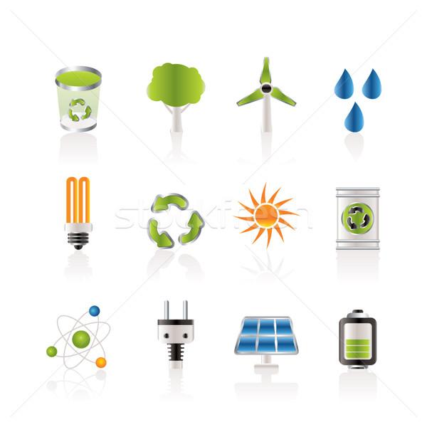 Ekologia energii charakter ikona wektora Zdjęcia stock © stoyanh