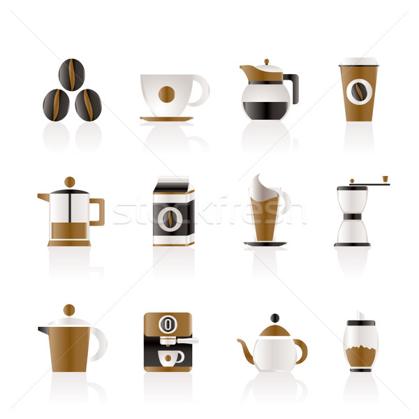 Koffie industrie borden iconen vector Stockfoto © stoyanh