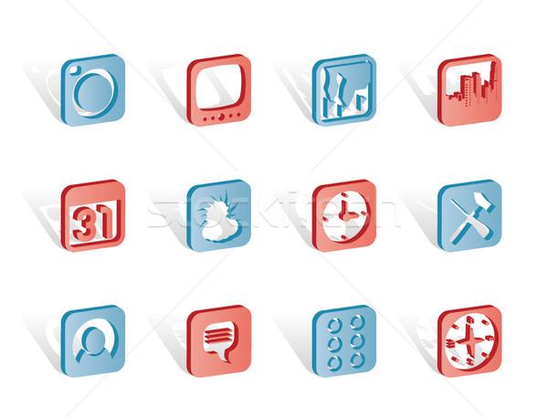 携帯電話 コンピュータアイコン ベクトル 電話 クロック ストックフォト © stoyanh
