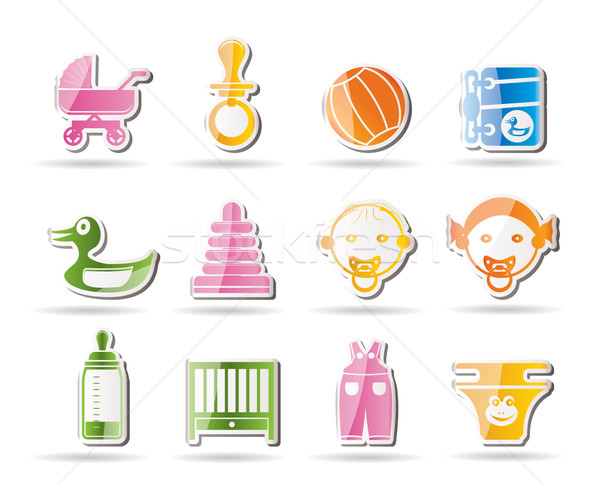 Simple Child, Baby and Baby Online Shop Icons  Stock photo © stoyanh