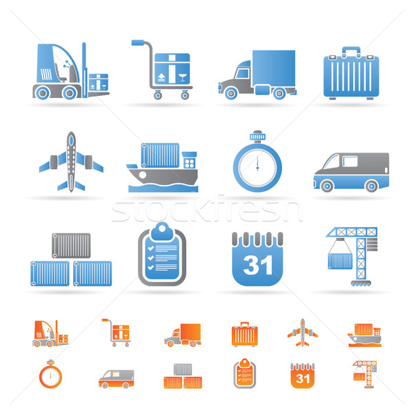 logistics, shipping and transportation icons Stock photo © stoyanh