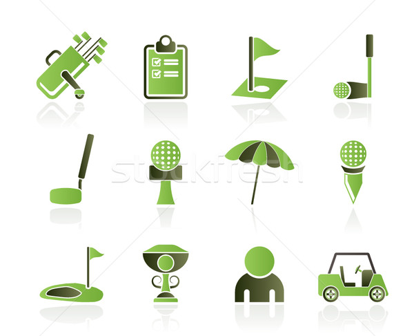 Golf sport iconen vector club Stockfoto © stoyanh