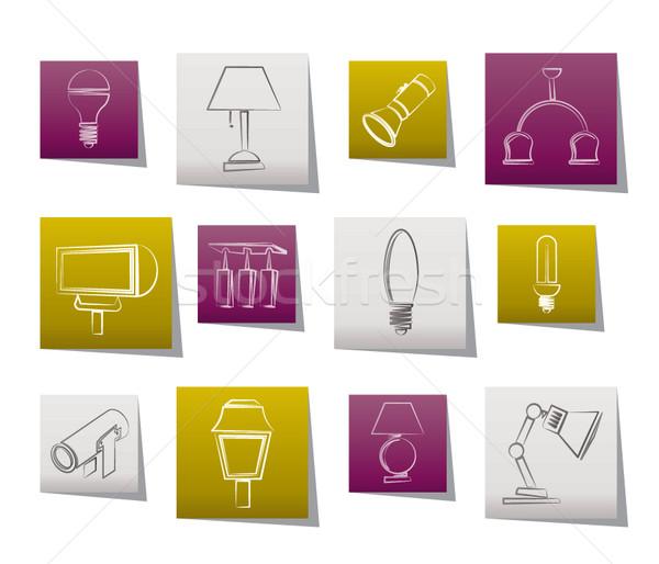 различный осветительное оборудование вектора знак промышленности Сток-фото © stoyanh