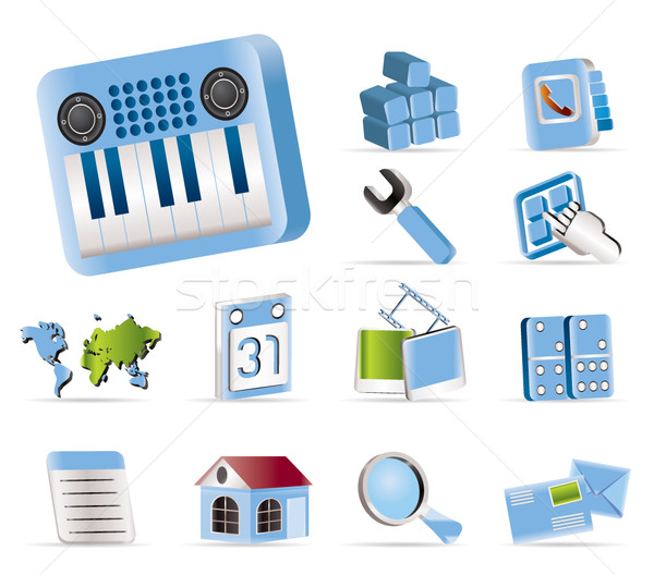 Mobile Phone and Computer icon  Stock photo © stoyanh