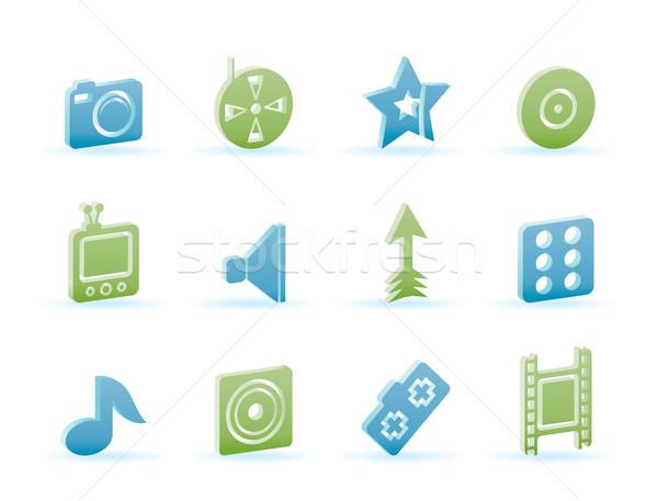 Divertissement médias icônes vecteur télévision Photo stock © stoyanh