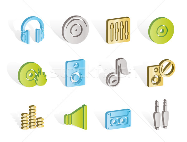 Muzyki dźwięku ikona wektora projektu Zdjęcia stock © stoyanh