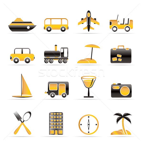 Viajar transporte turismo férias ícones vetor Foto stock © stoyanh