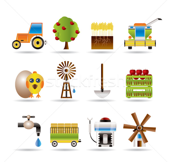 farming industry and farming tools icons  Stock photo © stoyanh