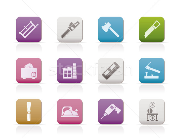 Woodworking industry and Woodworking tools icons Stock photo © stoyanh
