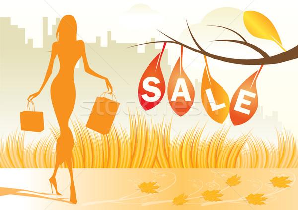 Outono compras mulher menina grama Foto stock © stoyanh