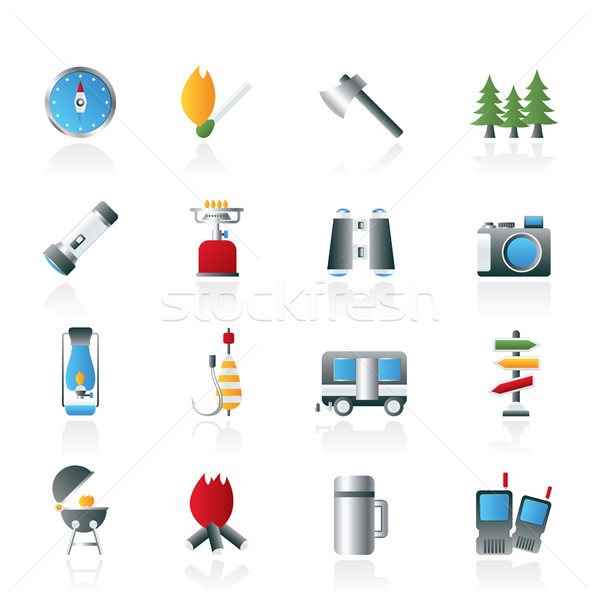 Camping, travel and Tourism icons  Stock photo © stoyanh