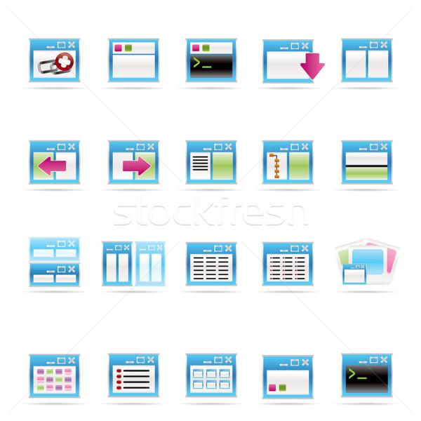 Aplicação programação servidor ícones do computador vetor Foto stock © stoyanh