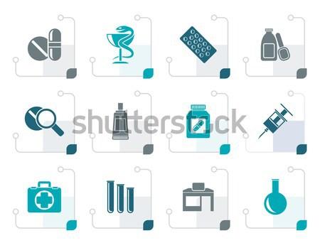Gyógyszertár orvosi ikonok vektor ikon gyűjtemény üzlet Stock fotó © stoyanh