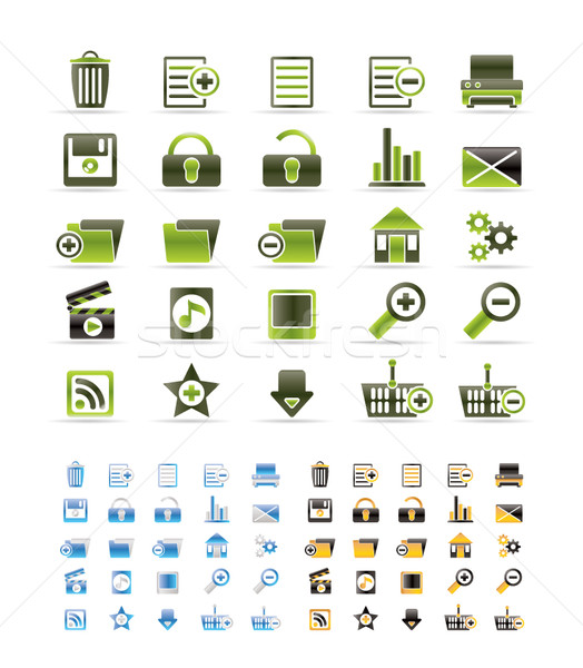 25 részletes internetes ikonok vektor ikon gyűjtemény színek Stock fotó © stoyanh