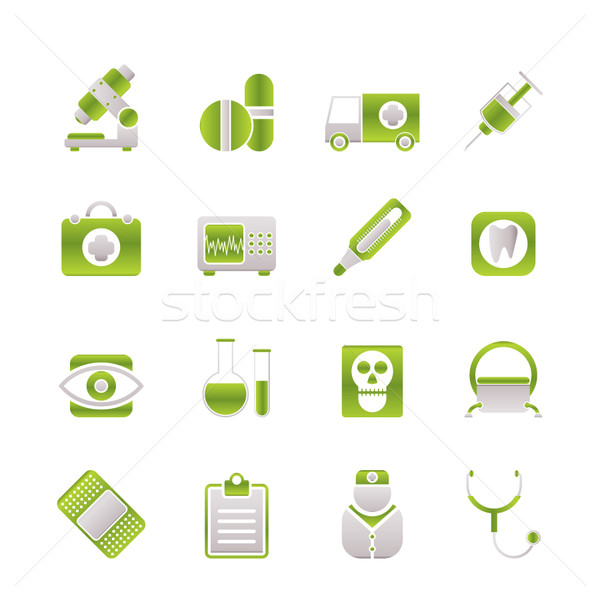 Stock photo: medical, hospital and health care icons