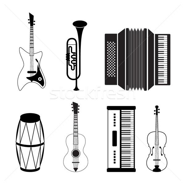 Hangszer ikonok vektor ikon gyűjtemény zene buli Stock fotó © stoyanh