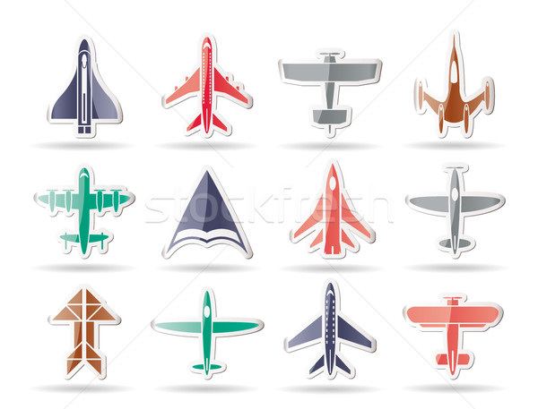 different types of plane icons Stock photo © stoyanh