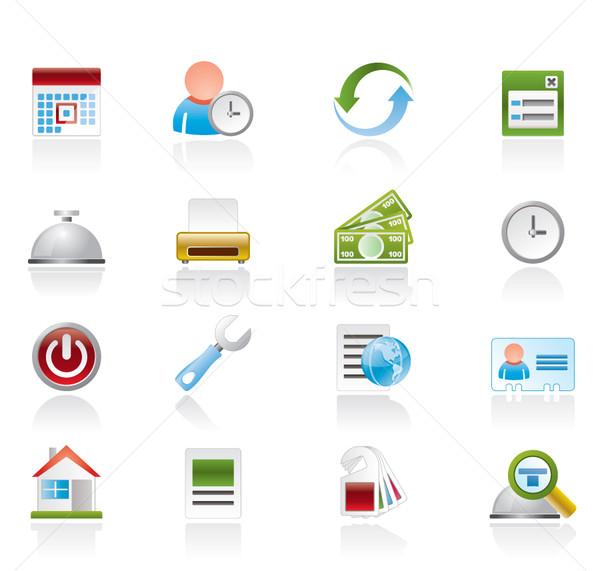 Reserva hotel iconos vector reloj Foto stock © stoyanh