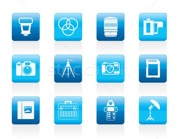 Stockfoto: Fotografie · uitrusting · iconen · vector · business