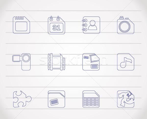 мобильного телефона компьютер Интернет иконы вектора телефон Сток-фото © stoyanh