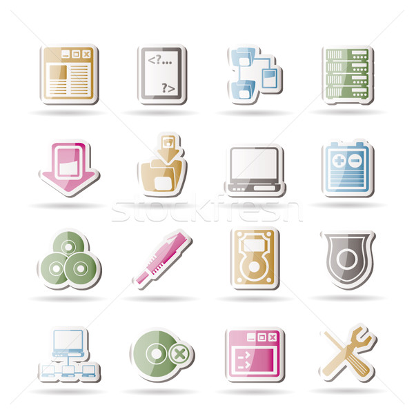 Serwera strona ikony komputerowe wektora Internetu Zdjęcia stock © stoyanh
