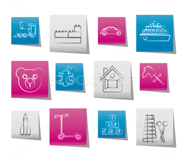 Different Kinds of Toys Icons Stock photo © stoyanh