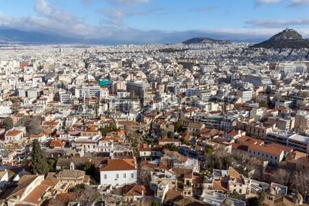 Miasta santorini ściany wygaśnięcia krajobraz morza Zdjęcia stock © stoyanh