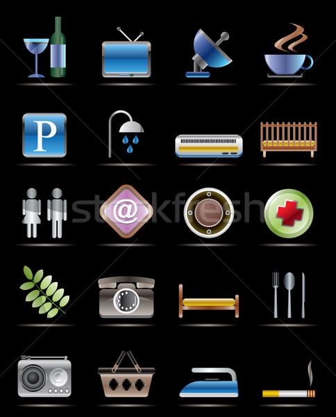 отель мотель объекты реалистичный вектора иконки Сток-фото © stoyanh
