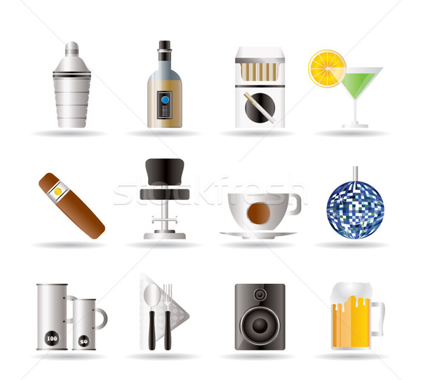Night club, bar and drink icons Stock photo © stoyanh