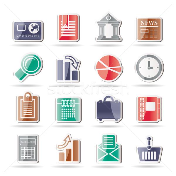 üzlet iroda valósághű internetes ikonok vektor ikon gyűjtemény Stock fotó © stoyanh