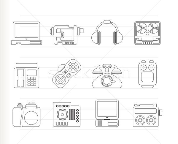 Electrónica los medios de comunicación técnica iconos vector Foto stock © stoyanh