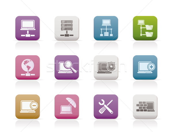 Netwerk server hosting iconen vector Stockfoto © stoyanh