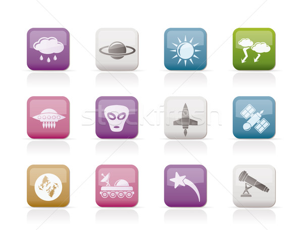 Astronautics and Space and univerce Icons Stock photo © stoyanh