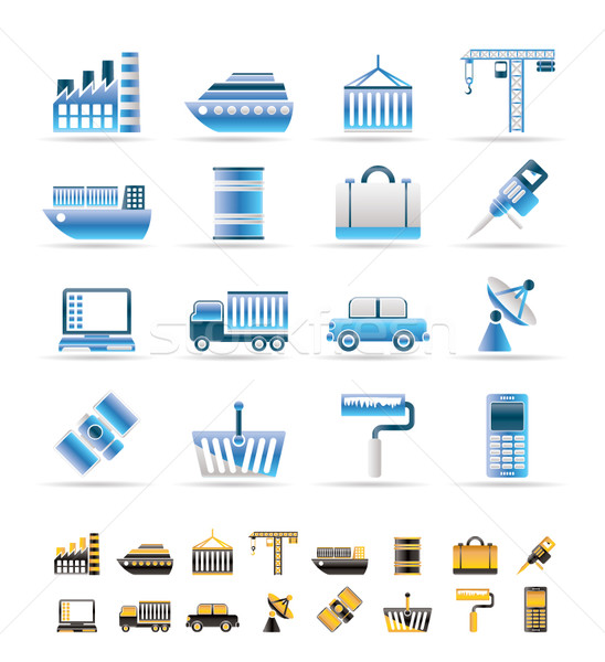 Stock foto: Industrie · Business · Symbole · Vektor · Farben
