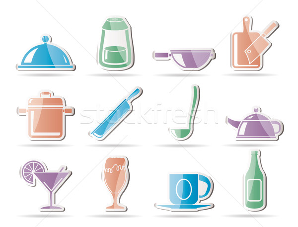 Restaurant, cafe, food and drink icons Stock photo © stoyanh